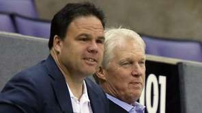 Jeff Gorton, Jim Schoenfeld and Glen Sather watch