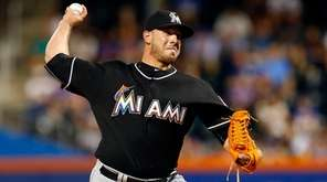 Jose Fernandez of the Miami Marlins pitches in
