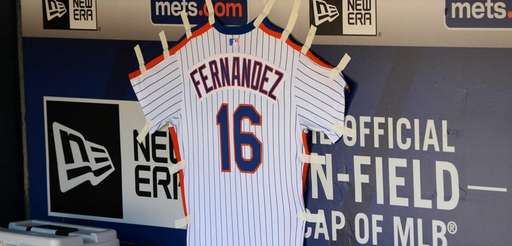 A jersey remembering Jose Fernandez, pitcher for the
