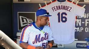 New York Mets' Yoenis Cespedes stands by a