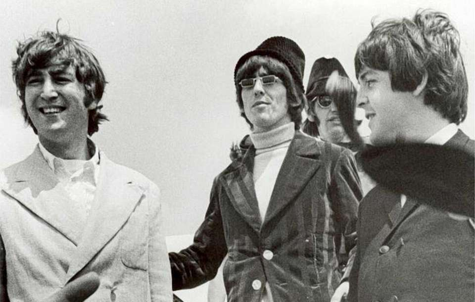 The Beatles, John Lennon, left, George Harrison, Ringo