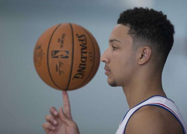 Ben Simmons of the Philadelphia 76ers spins a