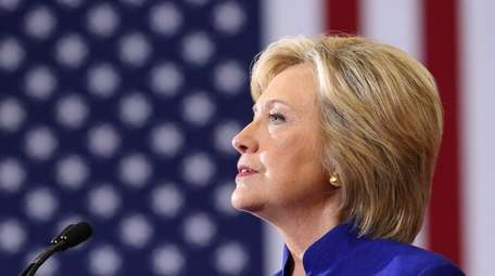 Democratic presidential nominee Hillary Clinton on stage during