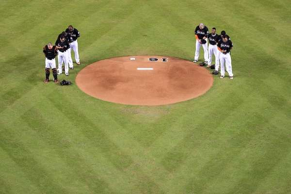 Miami Marlins players all wear jerseys bearing the