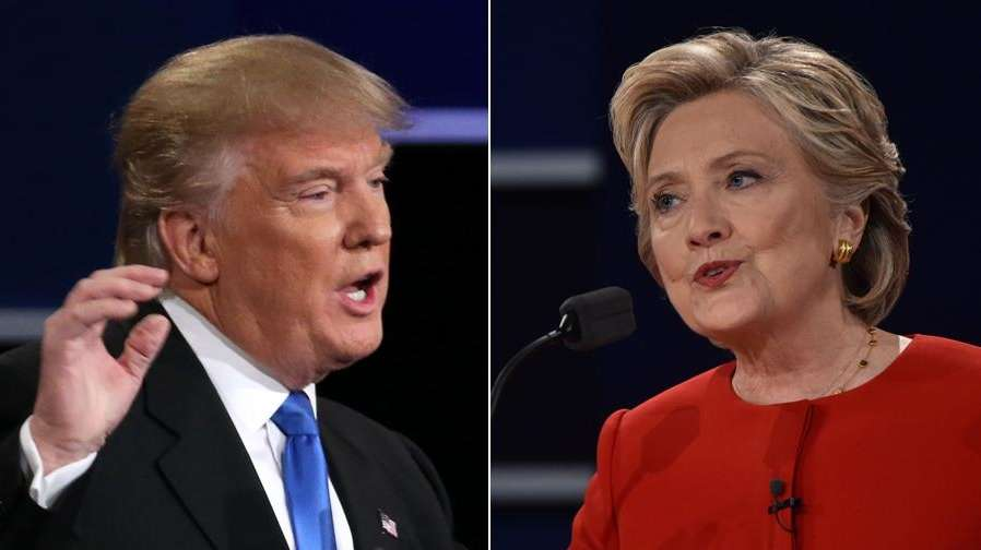 Hillary Clinton and Donald Trump speak during the