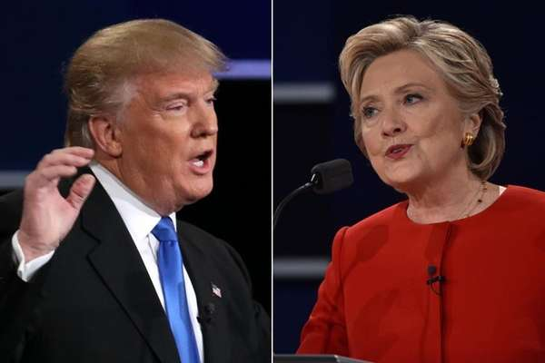 The first presidential debate between Donald Trump and Hillary Clinton at Hofstra University was a daylong affair on Monday, Sept. 26, 2016, which started out with a festive atmosphere as students and volunteers relished a chance to witness history as the first female nominee of a major party squared off against a nominee from the same state. Supporters and critics of both candidates were out in force to make their case in protests on an unusually vehicle-free Hempstead Turnpike in Hempstead. Viewing parties cheered and jeered as they watched Trump and Clinton exchange sharp blows about the other's experience, temperament and plans in a debate lasting about 100 minutes.