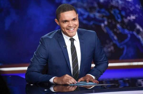 Trevor Noah on set during a taping of