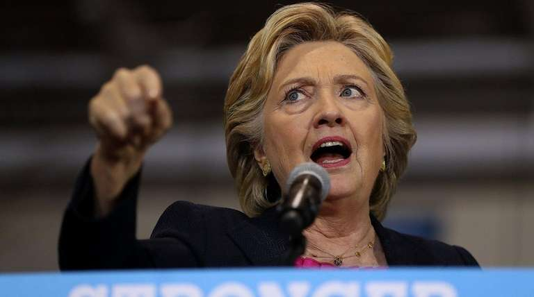 Democratic presidential nominee Hillary Clinton speaks at a