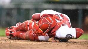 Wilson Ramos #40 of the Washington Nationals lies