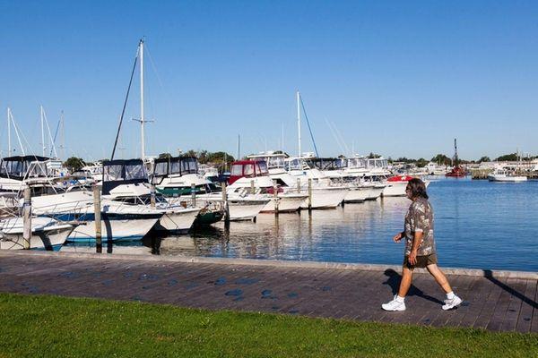 A boardwalk in Bay Shore; nearby is the