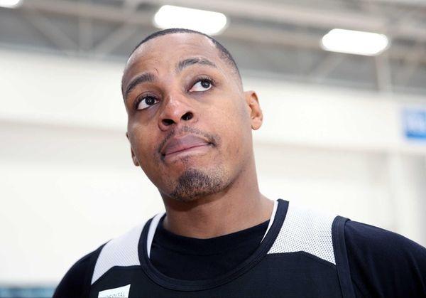 Brooklyn Nets guard Randy Foye talks to the
