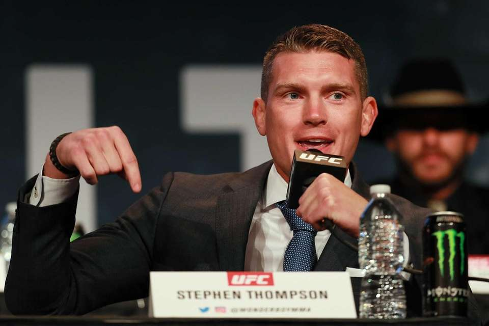Stephen Thompson addresses the media during the UFC