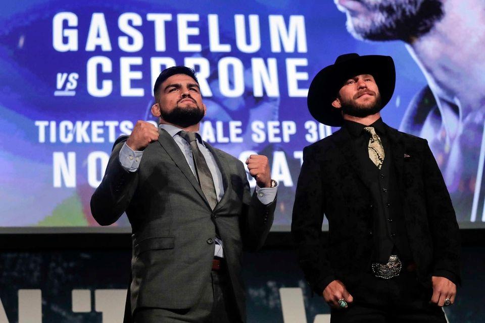 UFC welterweight fighters Kelvin Gastelum, left, and Donald