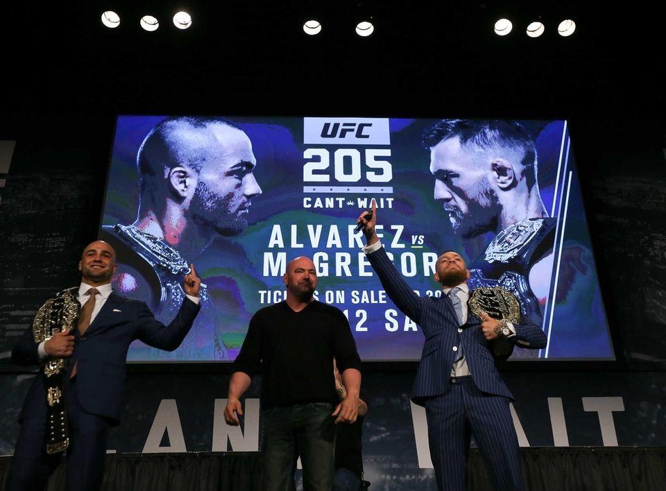 Conor McGregor, right, and Eddie Alvarez, left, face