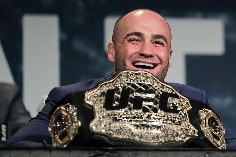 UFC lightweight champion Eddie Alvarez speaks during a