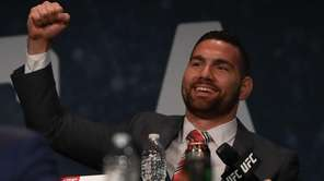Chris Weidman reacts during the UFC 205 press
