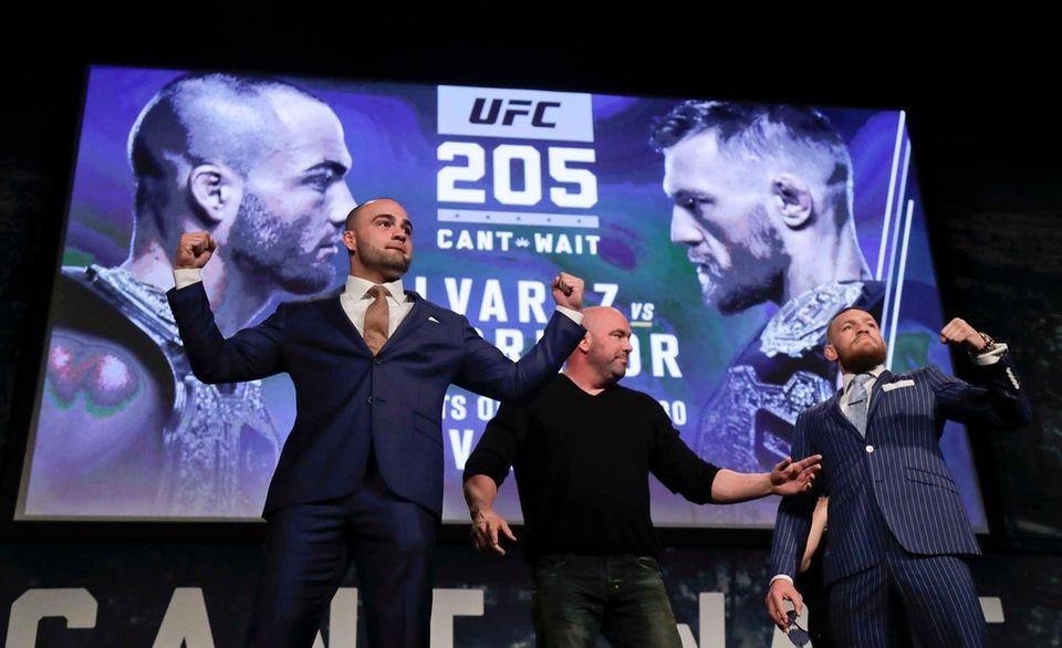 UFC lightweight champion Eddie Alvarez, left, and featherweight