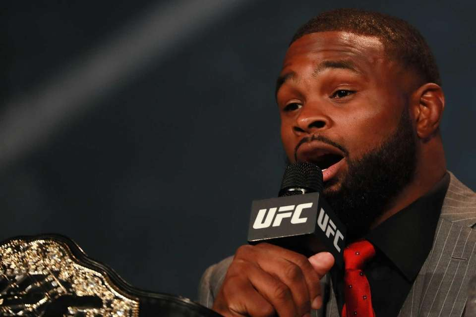 Tyron Woodley addresses the media during the UFC