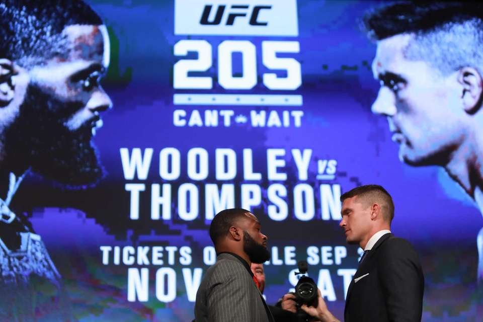 Tyron Woodley and Stephen Thompson face off during