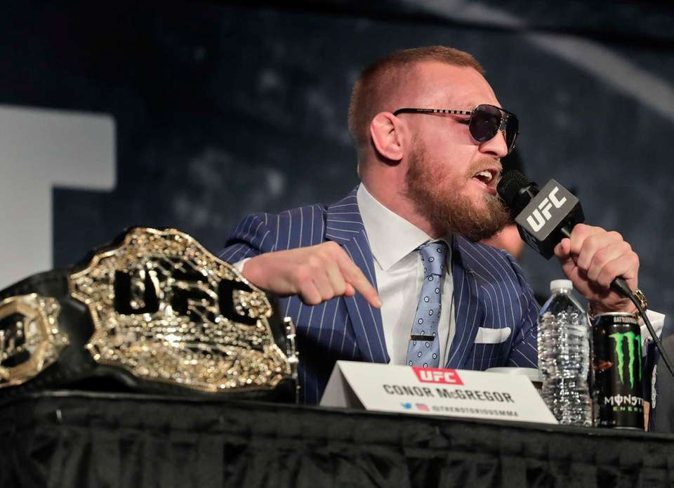 UFC featherweight champion Conor McGregor speaks during a