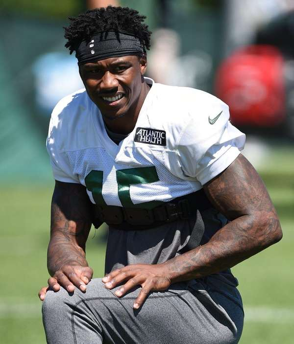 New York Jets wide receiver Brandon Marshall looks