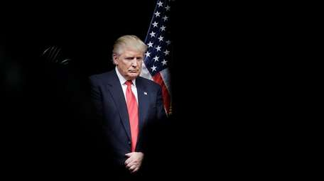 Republican presidential candidate Donald Trump is seen on