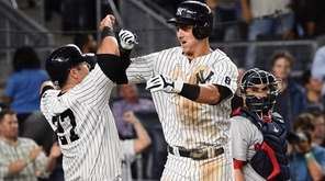 New York Yankees first baseman Tyler Austin celebrates