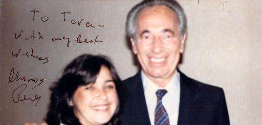 Tara D. Sonenshine and former Israeli Prime Minister