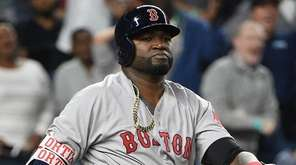 Boston Red Sox designated hitter David Ortiz looks