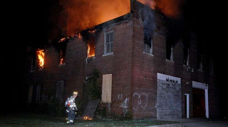 Firefighters respond to a blaze at the defunct