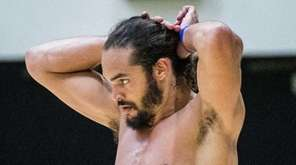 New York Knicks center Joakim Noah looks on