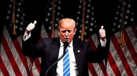 US Republican presidential nominee Donald Trump speaks during