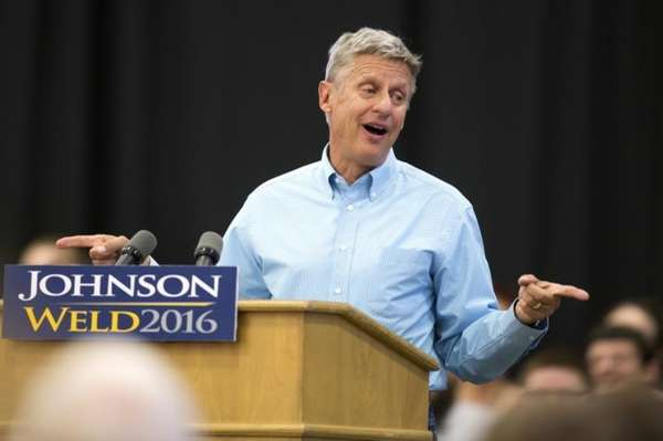 Libertarian presidential candidate Gary Johnson speaks at a