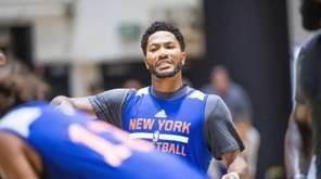 New York Knicks guard Derrick Rose during practice
