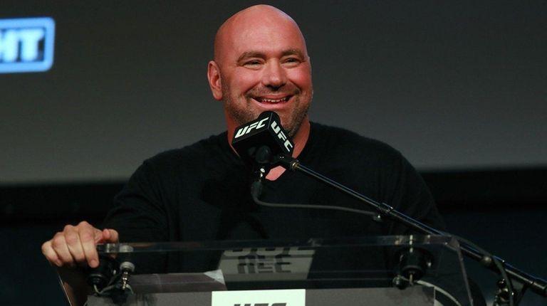 UFC president Dana White addresses the media during