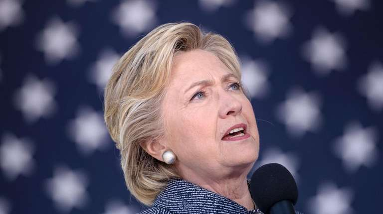Democratic presidential nominee Hillary Clinton speaks during an