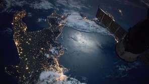 The southern tip of Italy is visible in