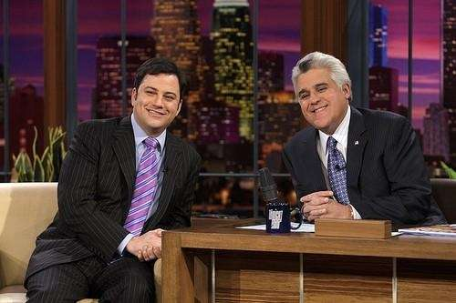 Jimmy Kimmel, left, and Jay Leno on