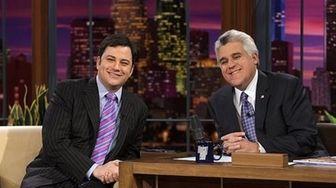 Jimmy Kimmel, left, and Jay Leno on