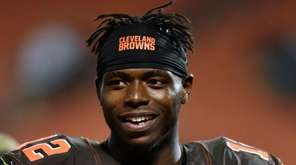Cleveland Browns wide receiver Josh Gordon walks off