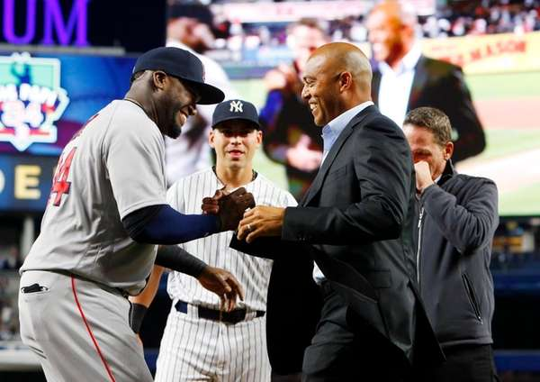 David Ortiz of the Boston Red Sox greets