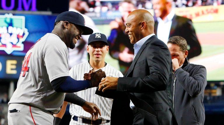 David Ortiz of the Boston Red Sox greets