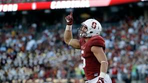 Stanford running back Christian McCaffrey (5) celebrates after