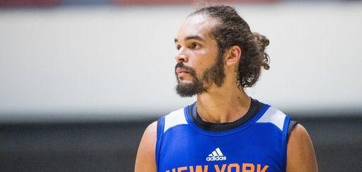 Knicks center Joakim Noah during practice at West
