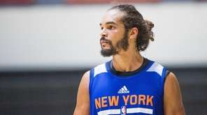 Knicks center Joakim Noah during practice at West