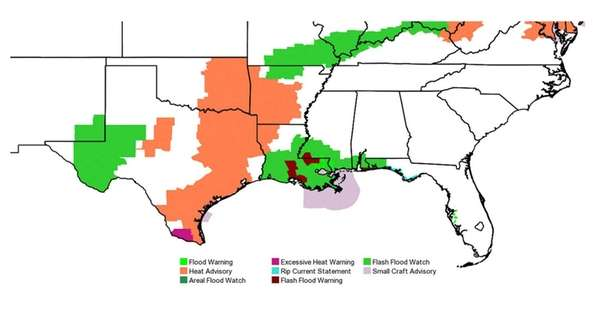 The map shows how the National Weather Service