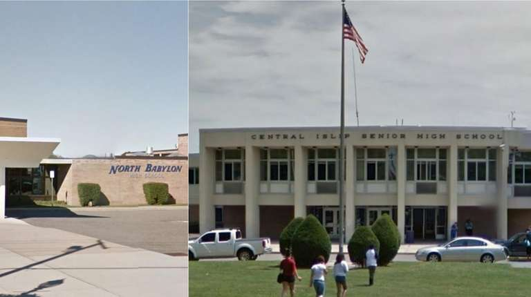 North Babylon High School, above, and Central Islip
