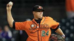 Long Island Ducks starter Nick Struck delivers a