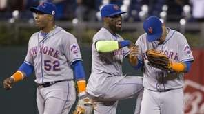 Yoenis Cespedes, Jose Reyes, and Juan Lagares of