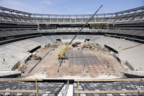 Construction of the new Jets/Giants stadium at the